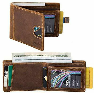 Mens Wallets minimalist wallet RFID Blocking Slim Bifold Leather Wallets for Men