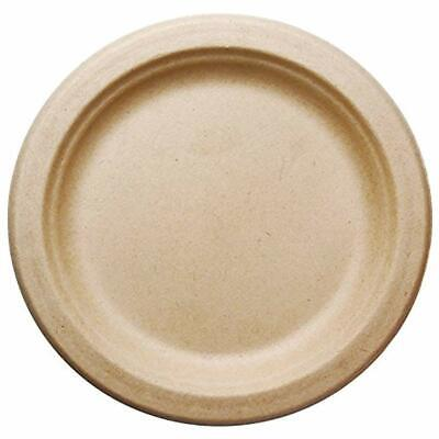 """500 COUNT 7"""" In Round Disposable Plates - Natural Sugarcane Bagasse Bamboo Seven"""