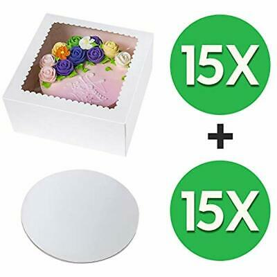 15pcs10x10x5 Inch Cake Boxes Boards Set,White Large Tall Sturdy Bakery Window Of