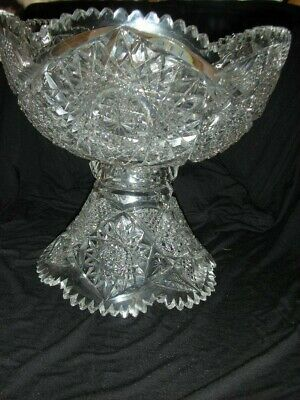 American Brilliant Cut Glass Large Punch Bowl And Pedestal
