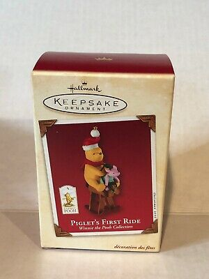 2002 Hallmark DISNEY WINNIE THE POOH PIGLET'S First Ride Christmas Ornament NIB
