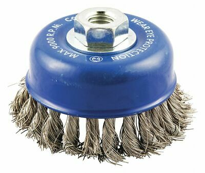 "4"" Knotted Wire Cup Brush, Arbor Hole Mounting, 0.014"" Wire Dia. 1"" Bristle Trim"