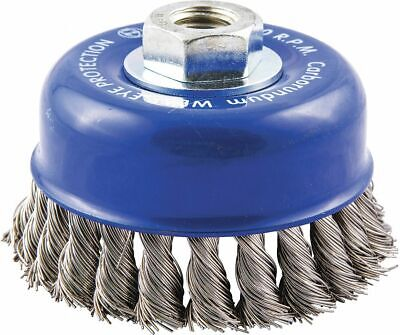 "4"" Knotted Wire Cup Brush, Arbor Hole Mounting, 0.020"" Wire Dia. 1"" Bristle Trim"