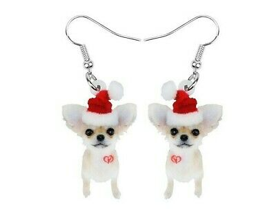 Lurcher or Whippet Dogs Christmas Earrings Pair Acrylic Metal Dog Dangle Black