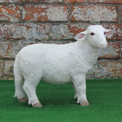 White Resin SHEEP Lamb Farm Yard Animals Patio Sculptures Garden Ornament Statue