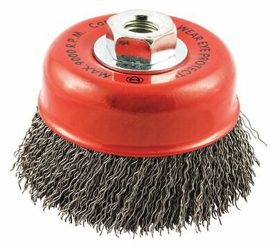 """4"""" Crimped Wire Cup Brush, Arbor Hole Mounting, 0.020"""" Wire Dia. 1-3/8"""" Bristle"""