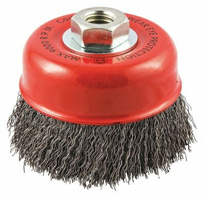 """4"""" Crimped Wire Cup Brush, Arbor Hole Mounting, 0.014"""" Wire Dia. 1-1/8"""" Bristle"""