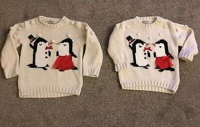 Girls christmas Jumpers Ages 1.5/2 Yrs And 3/4 Yrs Next - Great Condition