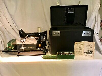 Singer Portable Electric Sewing Machine Model 221-1- 1952 - WORKS! w/Keys!