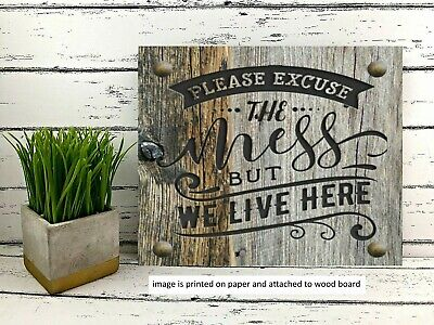 Country Primitive Bless this Mess Rustic Farmhouse Wooden Sign Sitter ttt