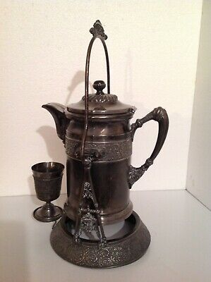 Victorian Wilcox  Silver Plate Water Pitcher Cup and Stand