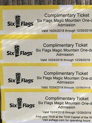 Four (4) Six Flags Magic Mountain Single Day Tickets