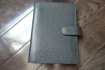 LOOK! Louis Vuitton Taiga Leather Agenda Organizer Medium Black Made in France!