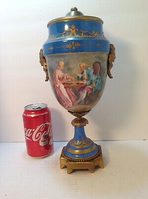 Antique French Sevres Hand Painted and Gilt Pictorial Urn, Artist Signed F Daril