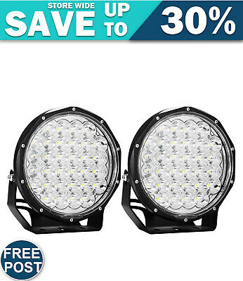 LIGHTFOX 9Inch Led Driving Lights Pair Round Spotlights Lamp Offroad 4WD