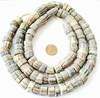 Strand Of Antique Krobo Powder Glass African Trade Beads-Ghana Collectible
