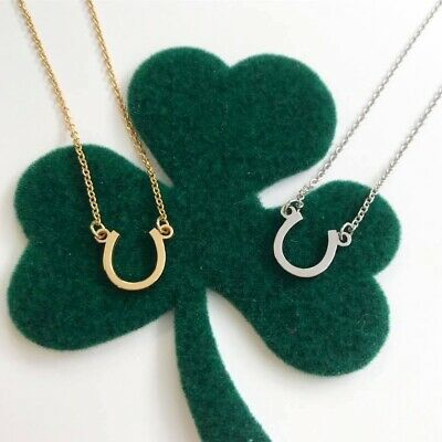 Horseshoe necklace tiny posh 14kt yellow rose or white gold adjustable chain