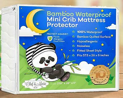 "Olaf & Marie Bamboo Waterproof Mini Crib Mattress Protector 37.5""x26""x5"""