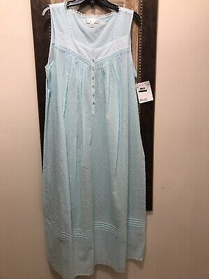 NWT $74 EILEEN WEST NIGHTGOWN MEDIUM Long Slvless Charcoal Chambray Cotton