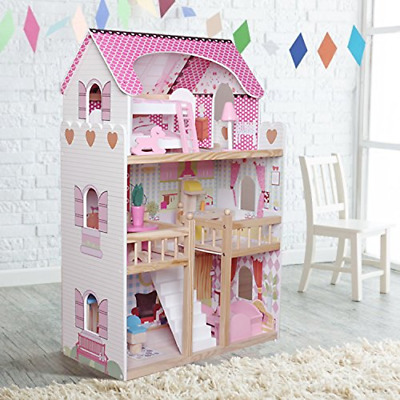 MotherandBaby Kids Wooden Dollhouse Dolls House With 17PCS Furnitures Couture