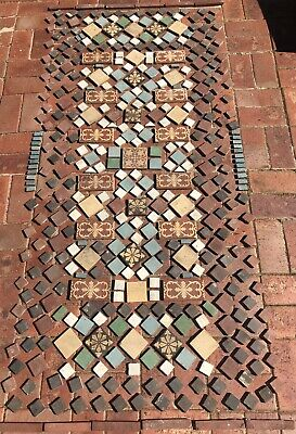 Decorative English Antique Victorian pathway tiles & vintage Claytons crate