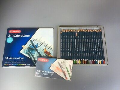 DERWENT 24 Watercolour PENCILS in Tin New Softer Texture