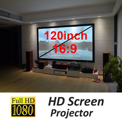 "120"" 16:9 Projector Projection Portable Screen Matte White Pull Down Home  D"