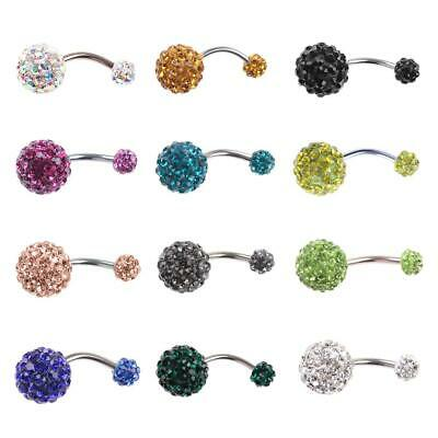 Crystal Rhinestone Belly Button Rings Surgical Steel Navel Piercing Jewelry #JT1
