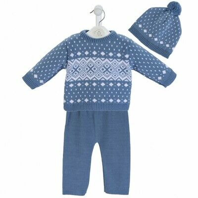 Dandelion Baby Boys Spanish Romany Set Slate Blue Fairisle Knitted Jumper Outfit