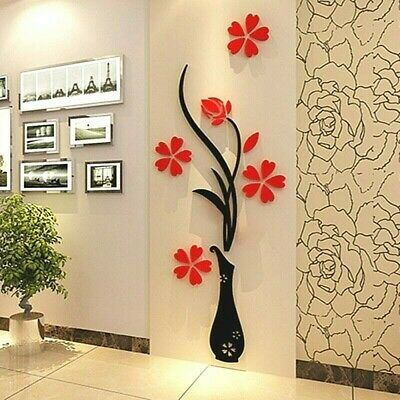 DIY 3D Acrylic Flower Vase Home Wall Decor Decal Sticker Art Room Tree Mural New