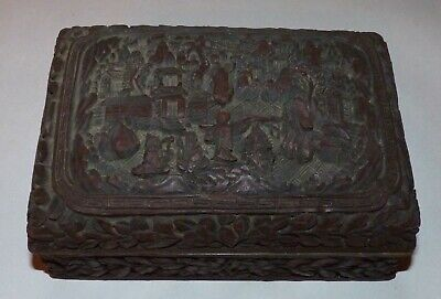 Antique Chinese Cinnabar Lacquer Box, Qing Dynasty, Qianlong Mark.