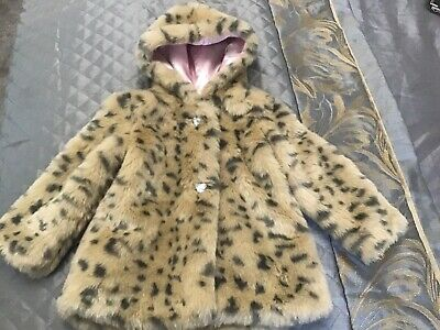 Beautiful Girls River Island Faux Fur Leopard Hooded Coat Age 2-3yrs RRP £45 VGC