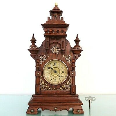 JUNGHANS Antique CLOCK Mantel 1910 BABY MINI STRIKING CHIME Castle Shaped German