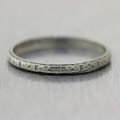1930's Antique Art Deco Platinum 2mm Thin Wedding Band Ring