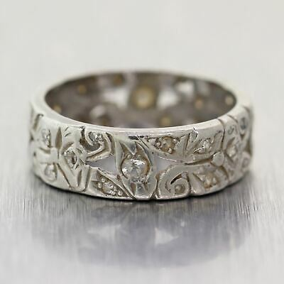 1930's Antique Art Deco Palladium 0.40ctw Diamond Filigree Wedding Band Ring
