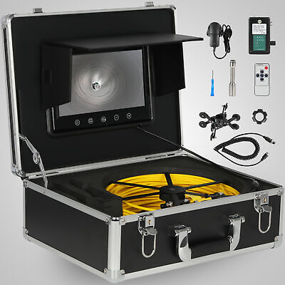 "50M Sewer Waterproof Camera 7"" LCD Drain Pipe Pipeline Inspection System"