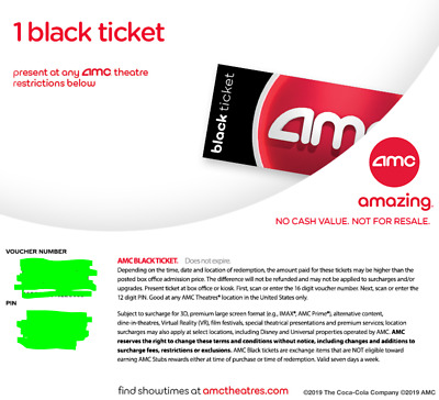 AMC Theaters 1 Black Movie Ticket (1 FREE MOVIE) No Expiration Digital Delivery