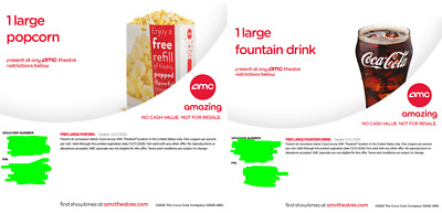 AMC Theaters 1 Large Popcorn & 1 Large Drink Expires 12/31/2020 Digital Delivery