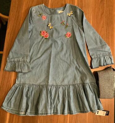 Girls Denim Dress Floral Embroidery Long Sleeve Tights Next 9 Years BNWT