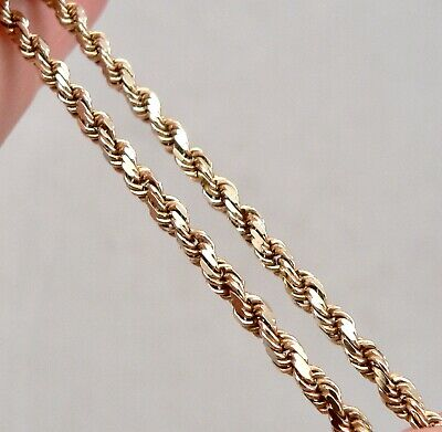 """Solid 14K Yellow GOLD 2.5mm Wide ROPE TWIST Chain 16"""" NECKLACE 10.7 Grams Estate"""