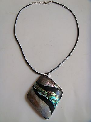 Mother Of Pearl Diamond Shaped Pendant On Leather Cord