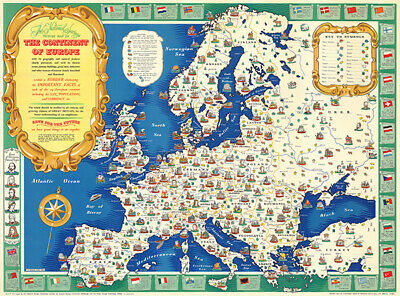 Continent of Europe - 1945 Historic Events People Building Pictorial Map Poster