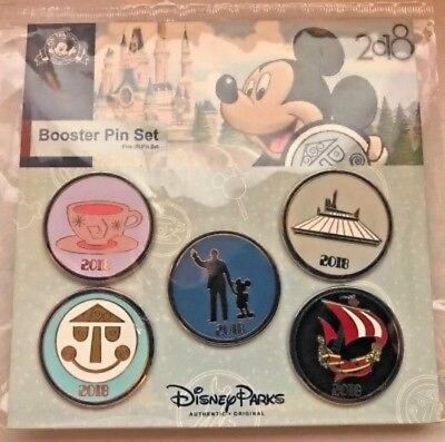 New Sealed~Disney Parks~2018 Collector Ride Pins~5 Set Lot~Mickey Mouse Walt