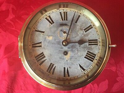 Antique Ships Original Brass Cased Clock (Buren/Swiss Made Movement)