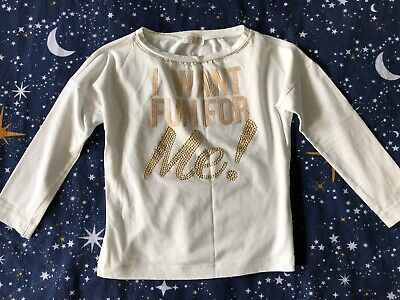Monnalisa Fun White Lond Sleeves Top With Gold Studs Design Age 8 Years