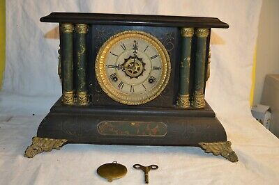 Rare Waterbury Green Marble Adamantine 4 Column Alarm Mantle Clock 8 Day Antique