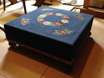 Edwardian Tapestry Stool with covers and cushion