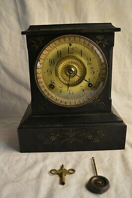 Antique 1882 Ansonia Cast Iron Mantle Mantel Clock 8 Day Key Pendulum Flower