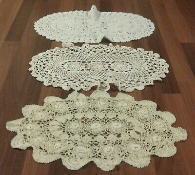 3 Vintage Oval Hand Crocheted Cotton Lace Table Mats Or Doilies