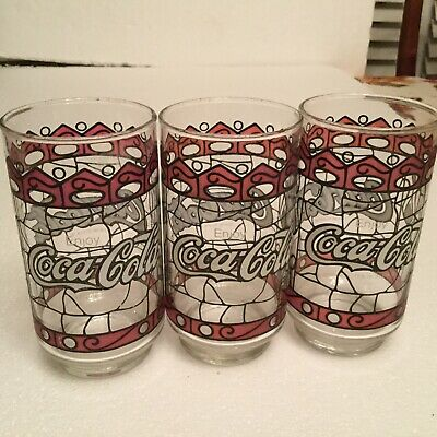 3 Vintage Coca Cola Stained Glass Tiffany Style